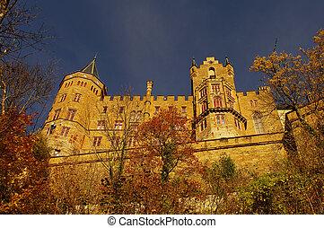 automne, swabian, allemagne, pendant, hohenzollern, château
