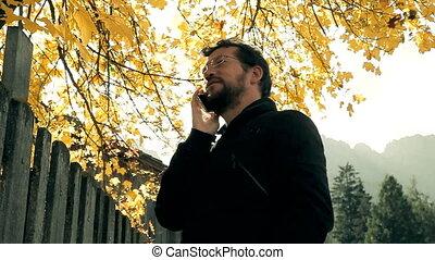 automne, téléphone, homme