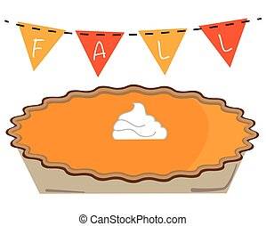 automne, tarte, citrouille