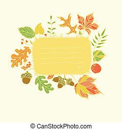 automne, texte, conception, endroit, élément