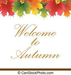 automne, texte, feuilles, bannière, érable