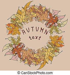 automne, texte, feuilles, ton, cadre