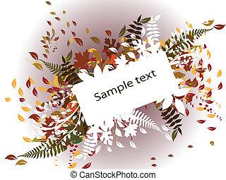 automne, texte, frontière, fond
