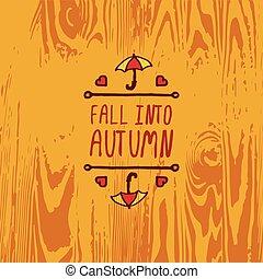 automne, texte, vecteur, handdrawn, élément