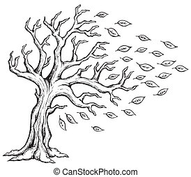 automne, thème, 2, arbre, image