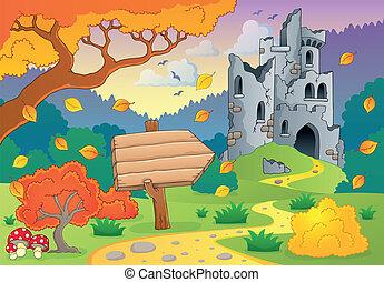 automne, thème, 2, ruines, château