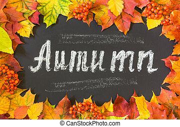 automne, thème, leaves., fond, érable