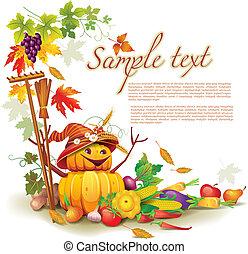 automne, thème, récolte, gabarit