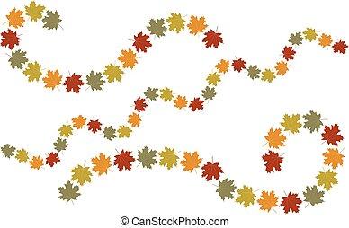 automne, tourbillon, feuilles, éléments