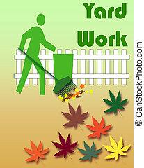 automne, travail, yard