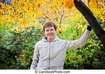 automne, type, sourire, jeune, nature