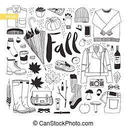 automne, vêtements, set., items., chaussures