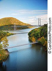 automne, vallée hudson, rivière