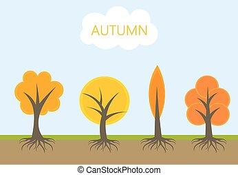 automne, vecteur, arbres