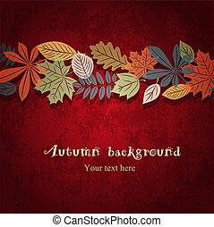 automne, vecteur, arrière-plan rouge