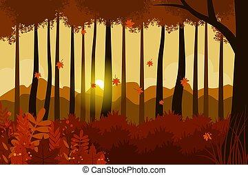 automne, vecteur, conception, illustration
