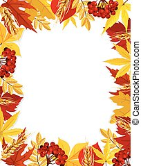 automne, vecteur, feuille, feuillage, vide, automne, cadre, affiche