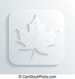 automne, vecteur, feuille, icône