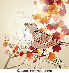 automne, vecteur, fond