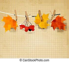 automne, vecteur, illustration., fond, leaves.