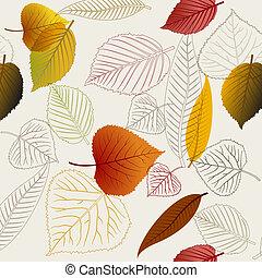 automne, vecteur, pousse feuilles, texture