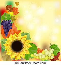 automne, vendange, carte voeux