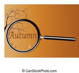 automne, verre, magnifier, sous