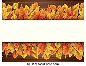 automne, vide, feuilles, rectangle