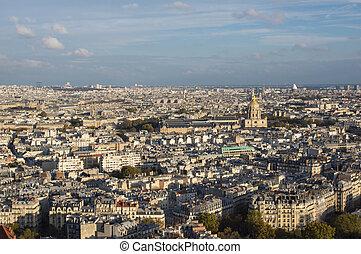 automne, ville, soir, paris, vue