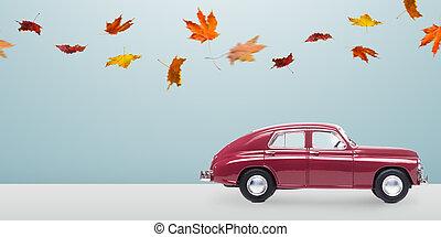 automne, voiture, minimalistic