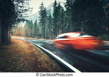 automne, voiture, mouvement brouillé, route, rouges, forêt