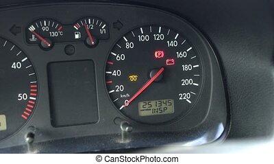 automobiel, instrument paneel, op, een, diesel, auto, op,...