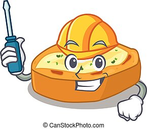 automobiel, karakter, gebakken aardappels, gewerkte, spotprent