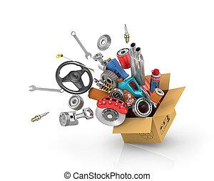 automobil, dele, ind, den, card, box., automobilistisk, kurv, shop., automobil, dele, store., flyve, autoparts.