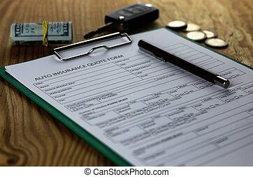 automobil forsikring, kontrakt, penge