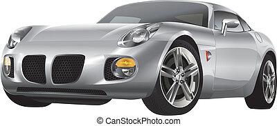 automobil, stříbrný