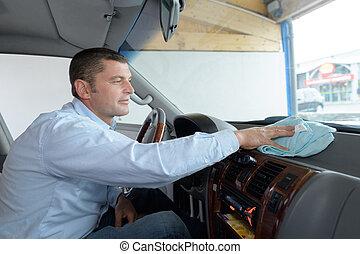 automobil tjeneste, stab, rensning, vogn interior