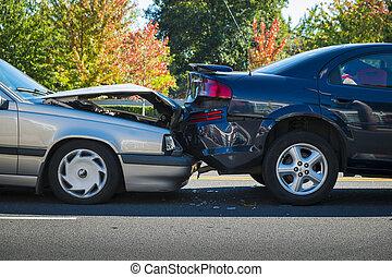 automobil ulykke, to, involver, bilerne
