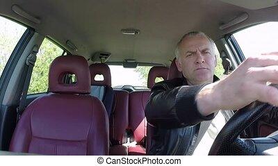automobile, électronique, gps, navigation, appareil, voiture, chauffeur, homme, gens, conduite