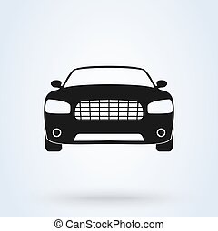 automobile., aanzicht, voorkant, symbool, pictogram, auto, vector