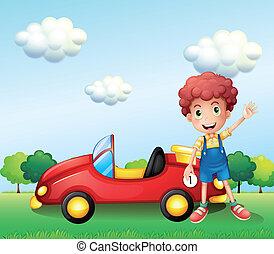 automobile, accanto, ragazzo, ondeggiare, suo, mano
