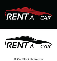 automobile, affitto, logotipo