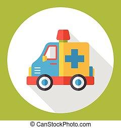 automobile, ambulanza, appartamento, icona