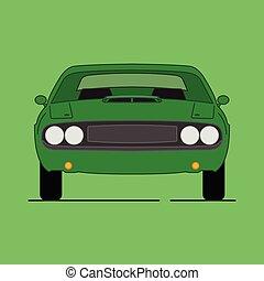 automobile, americano, muscolo, cartone animato