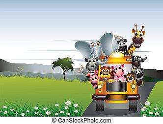 automobile, animale, divertente, giallo