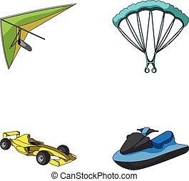 automobile, appendere, stile, simbolo, da corsa, set, ...