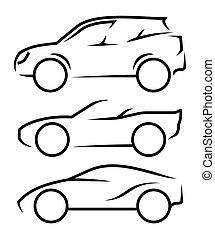 automobile, arte, linea