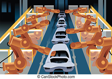 Automobile assembly line - A vector illustration of...