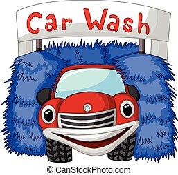automobile, automatico, cartone animato, lavare