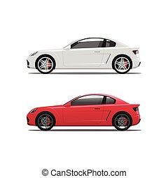 automobile, automobili, icone, automobili, vettore, auto, vista, bianco, lato, rosso